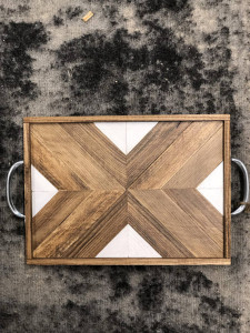 Wood and white X tray - Werrell Woodworks