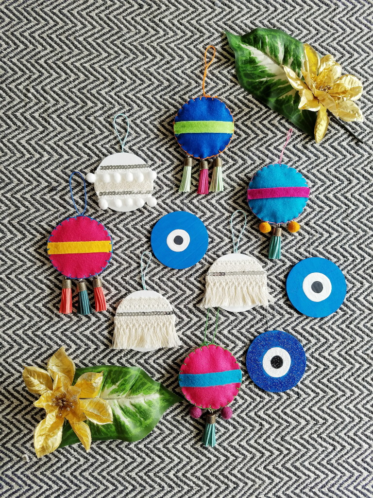 global style ornaments- handira, evil eye talisman, mexican felt ornaments ranging from easy to hard difficulty in DIY skills