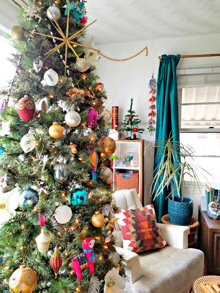 colorful eclectic boho christmas tree with global details