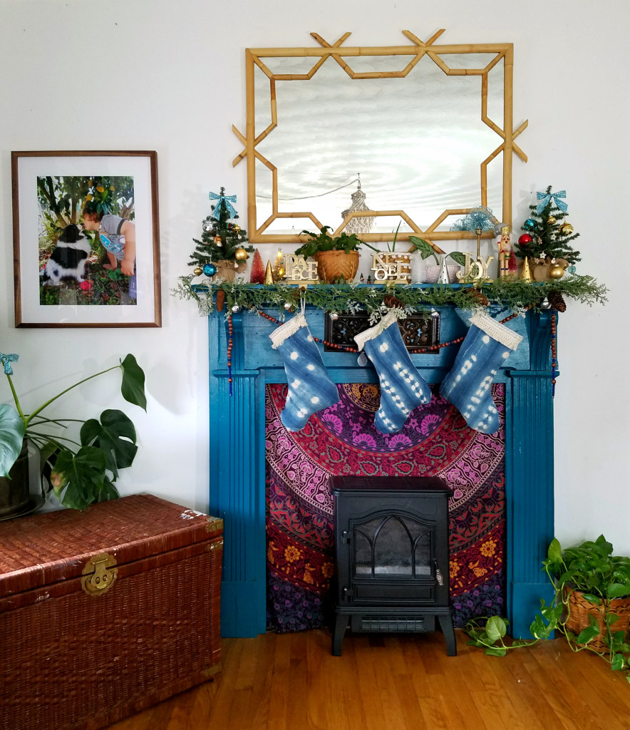 Colorfully eclectic Christmas mantel