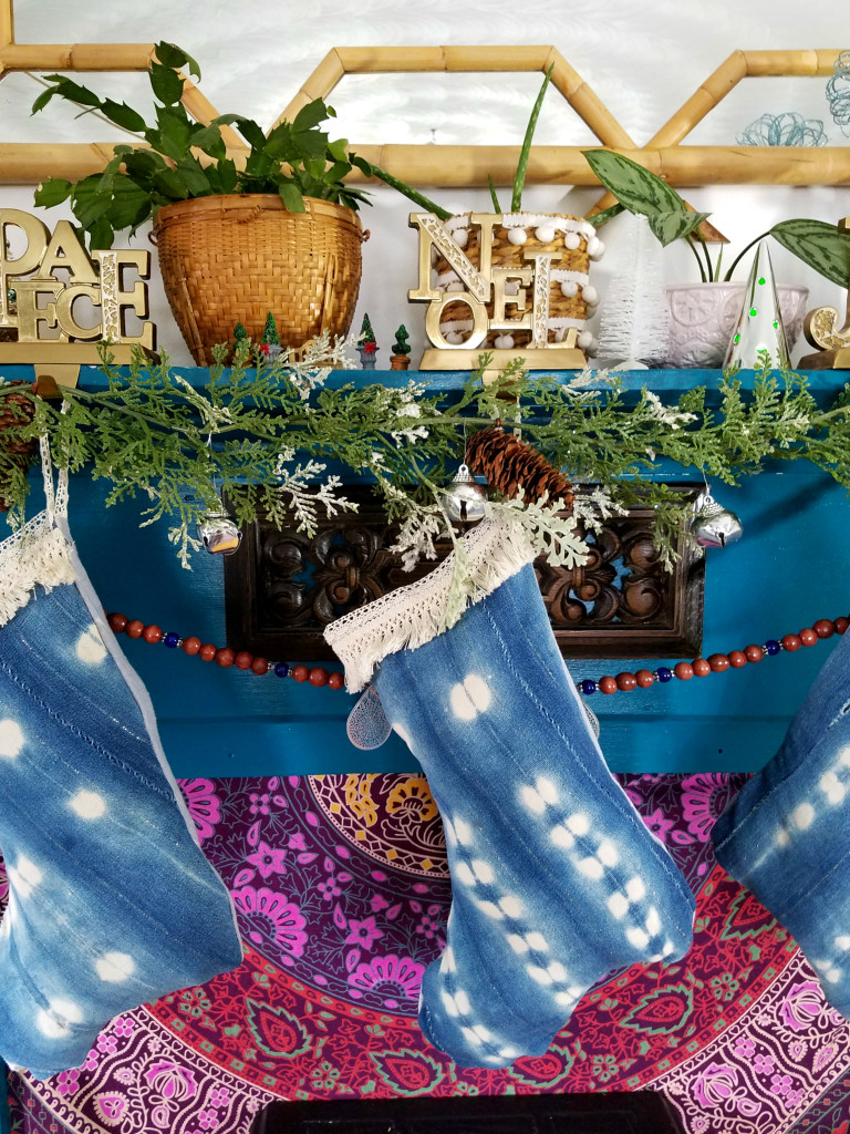 colorful-eclectic-christmas-mantel-mudcloth-stocking