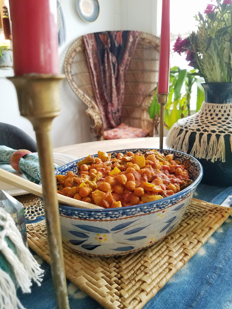 Boho setting for Valentine's day Chana Masala dinner.