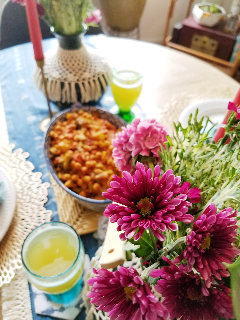 Romantic Bohemian chana masala dinner for fresh flowers and libations.
