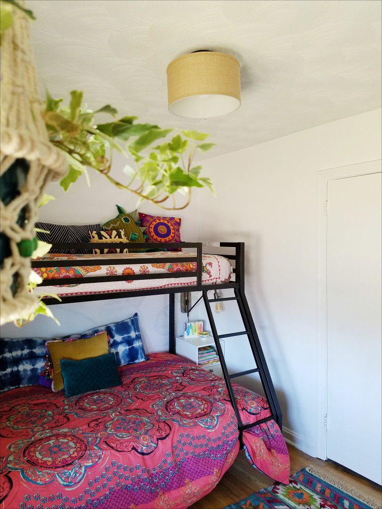 Colorful Boho Kid's Room with Bunkbed and live plants via @thebohoabode at ADesignerAtHome.com