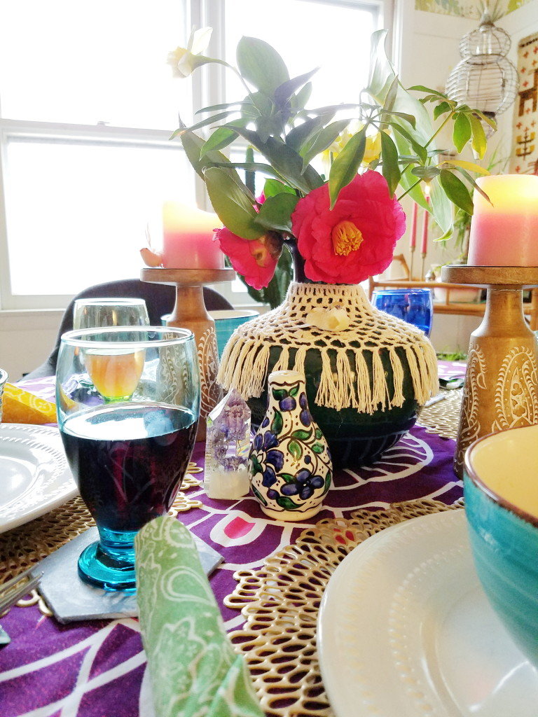 Candle lit boho dinner table