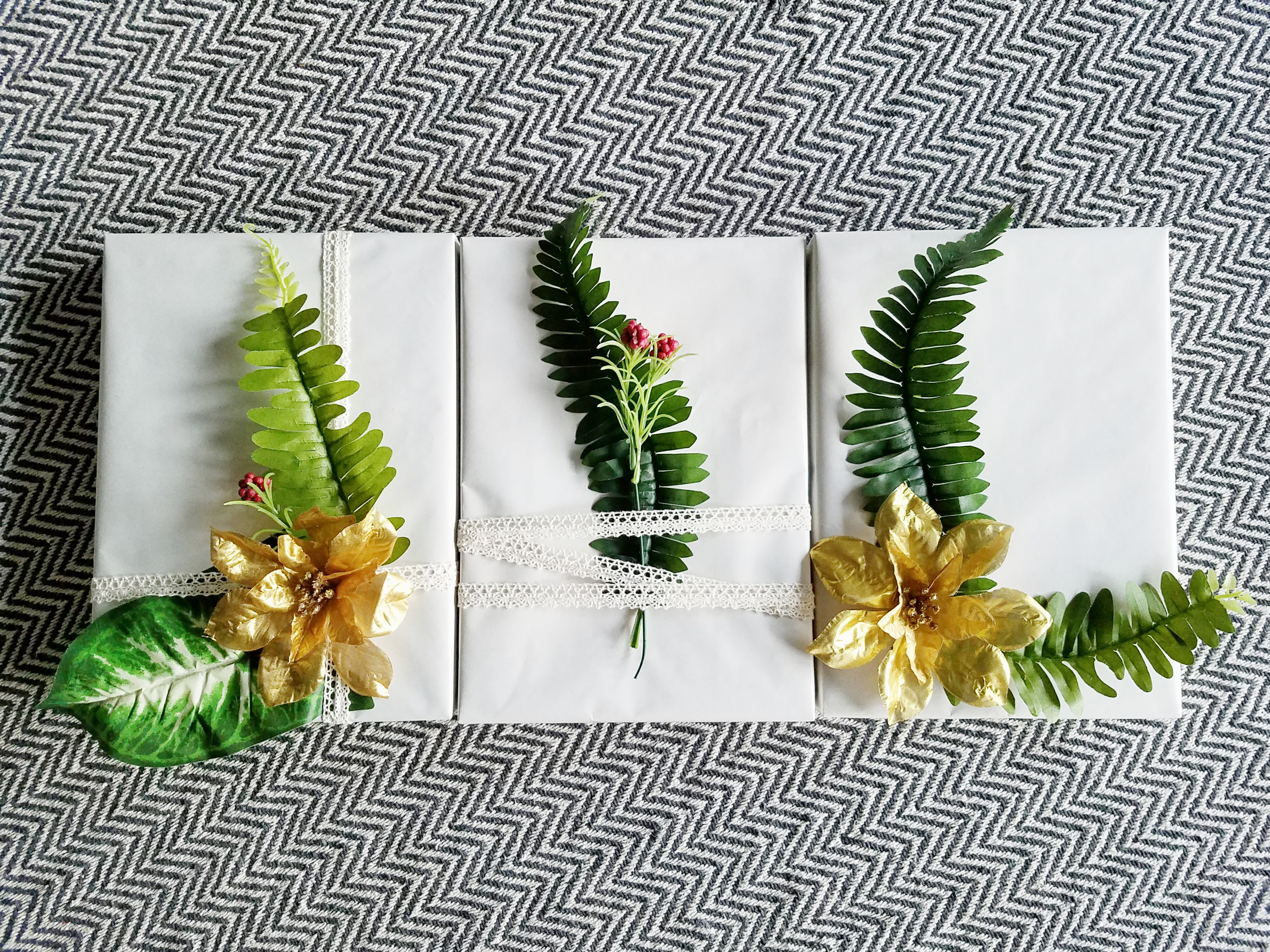 Dollar Store Budget Friendly Botanical Gift Wrapping Idea
