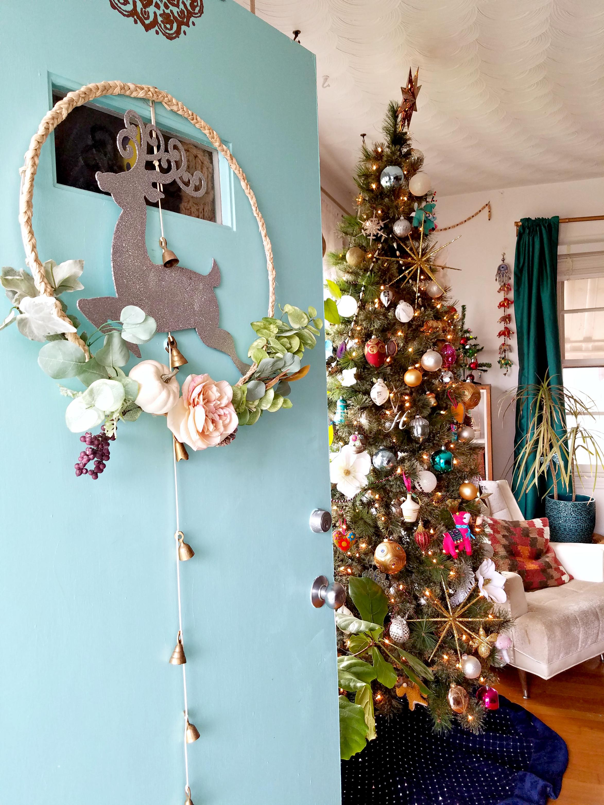 Bohemian Christmas Decorated Front Door